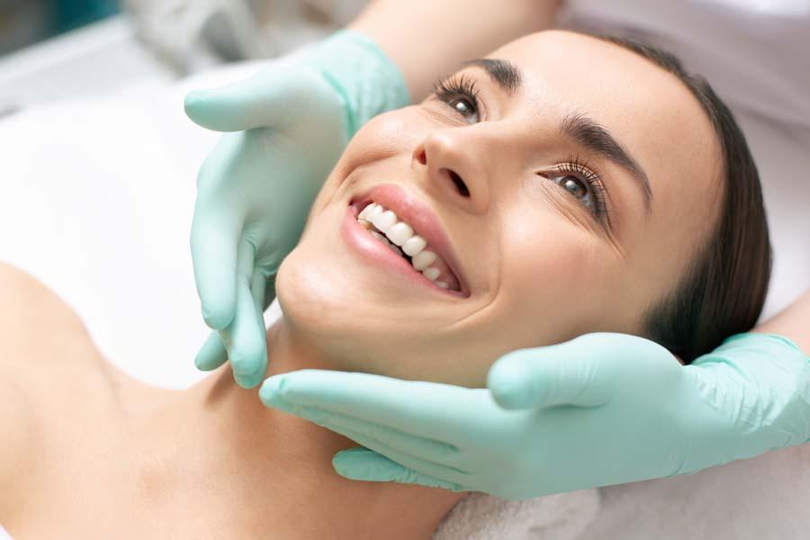 Woman enjoying medical facial